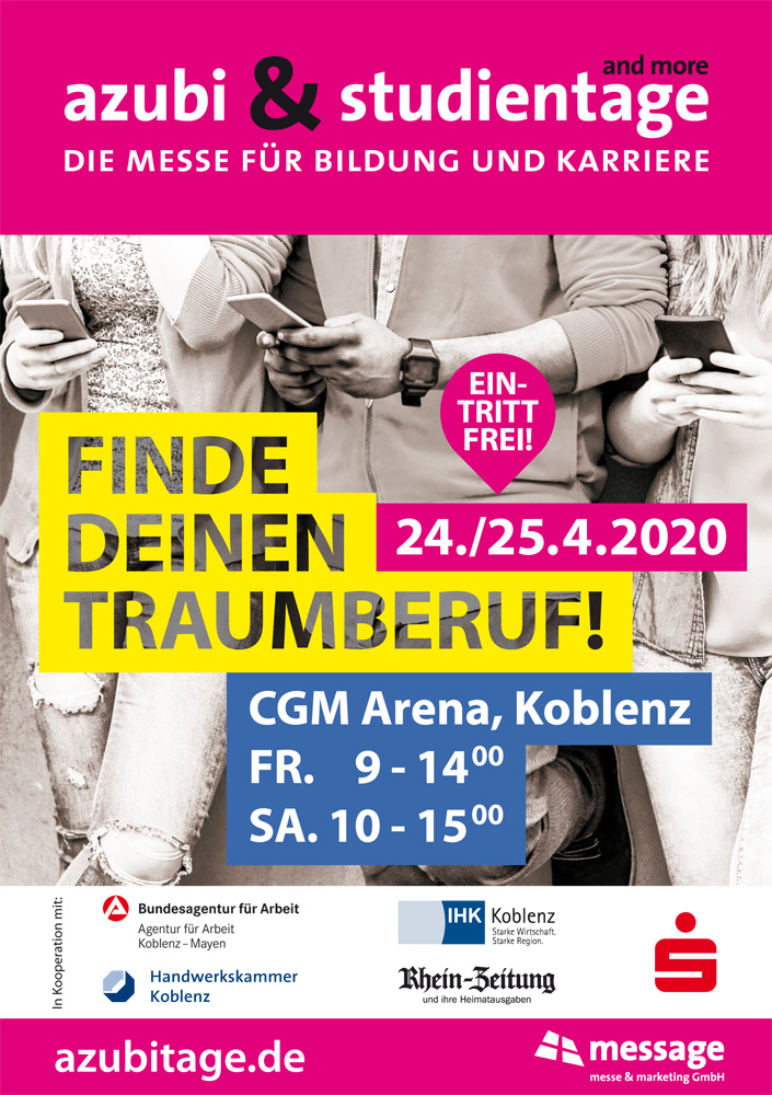 Plakat azubi- & studientage Koblenz 2020 | © mmm message messe & marketing GmbH